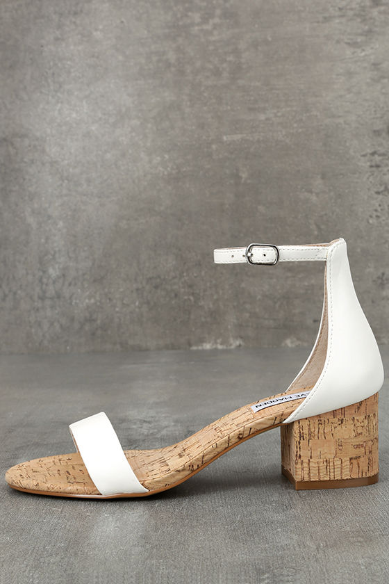 b11cc663a724 Steve Madden Irenee C - White Heels - Cork Heels - Ankle Strap Heels -   79.00