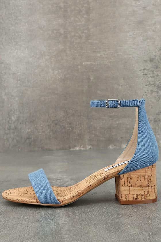 eeb491a236fb Steve Madden Irenee C - Denim Heels - Cork Heels - Ankle Strap Heels -   79.00