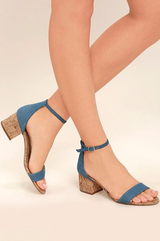 5032c61fca6 Steve Madden Irenee C - Denim Heels - Cork Heels - Ankle Strap Heels ...