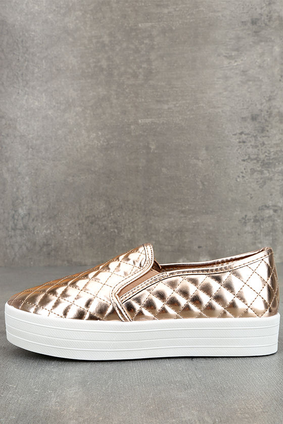 Cosima Rose Gold Quilted Flatform Slip-On Sneakers 1