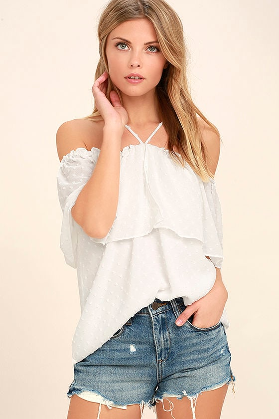 cb2529995d Lovely White Top - Off-the-Shoulder Top - Short Sleeve Top -  45.00