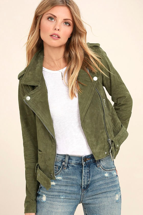 Blank NYC Backhanded Olive Green Suede Leather Moto Jacket 1