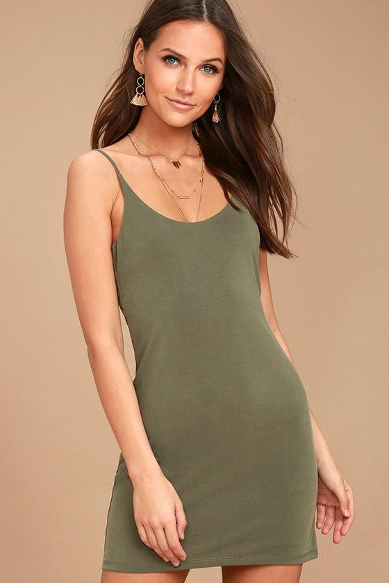 Casual Washed Olive Green Dress - Short Dress - Sleeveless Dress ...