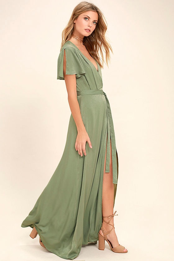 6e686e2ba19 Lovely Sage Green Dress - Maxi Dress - Wrap Dress -  69.00