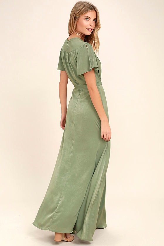 City of Stars Sage Green Maxi Dress 3