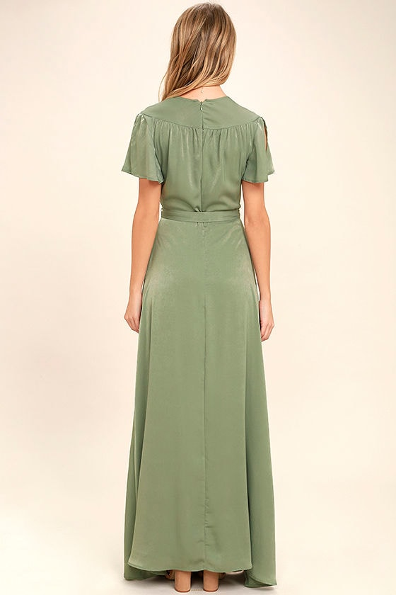 City of Stars Sage Green Maxi Dress 4