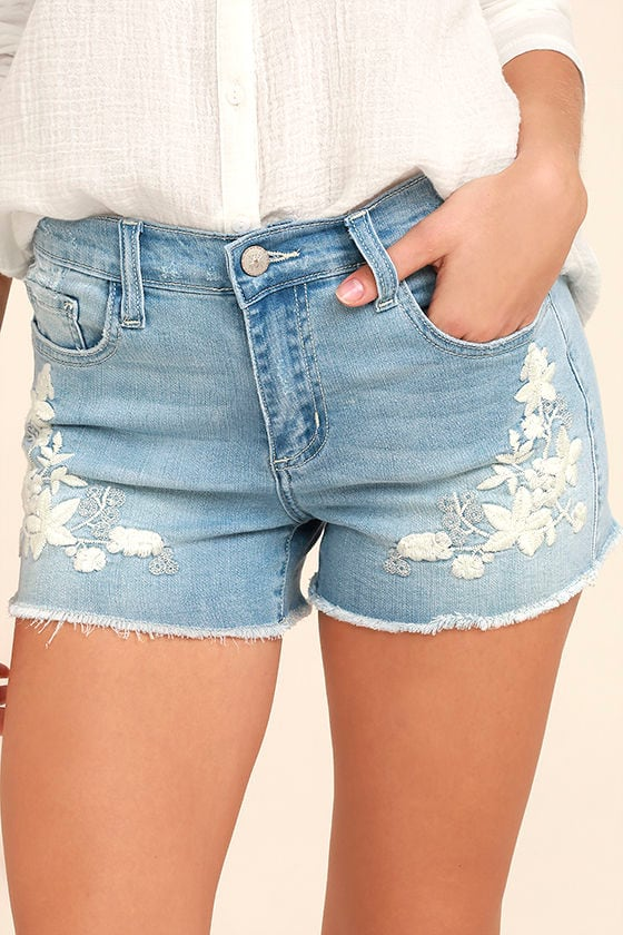 Cute Light Wash Shorts - Embroidered Shorts - Distressed ...