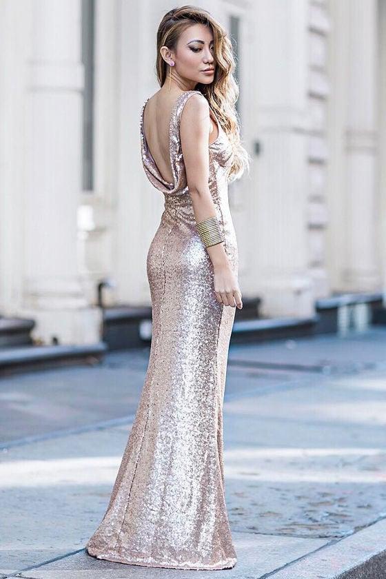 Slink and Wink Matte Rose Gold Sequin Maxi Dress 8