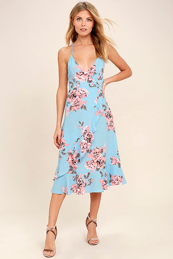 My Finest Flower Periwinkle Blue Floral Print Wrap Dress 1