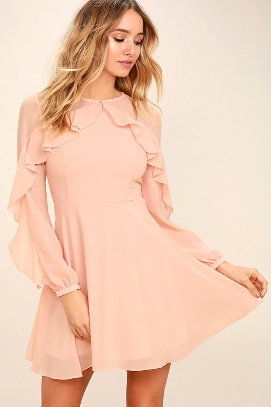 Lovely Blush Pink Dress - Long Sleeve Dress - Skater Dress - $62.00