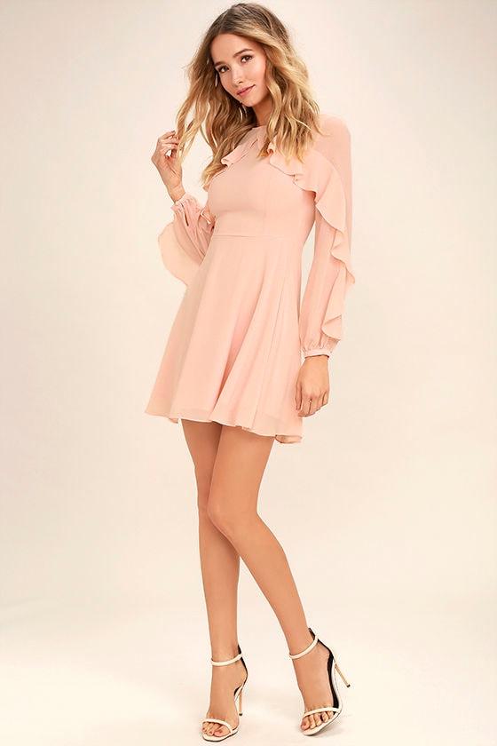 Lovely Blush Pink Dress - Long Sleeve Dress - Skater Dress - $62.00