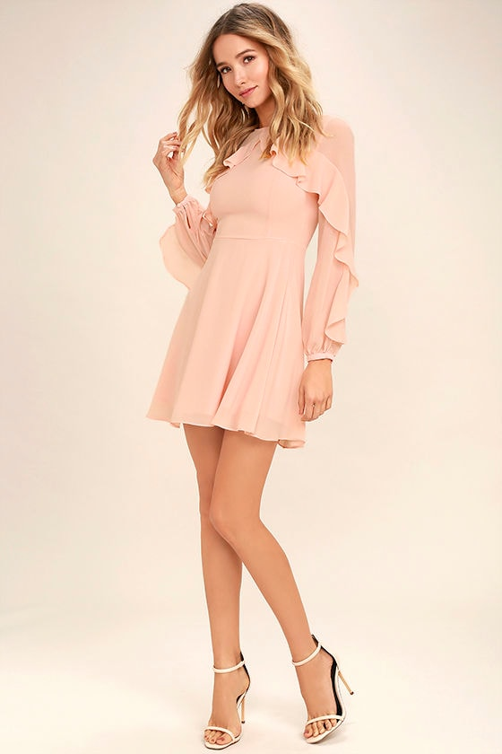f116177ebd Lovely Blush Pink Dress - Long Sleeve Dress - Skater Dress -  62.00