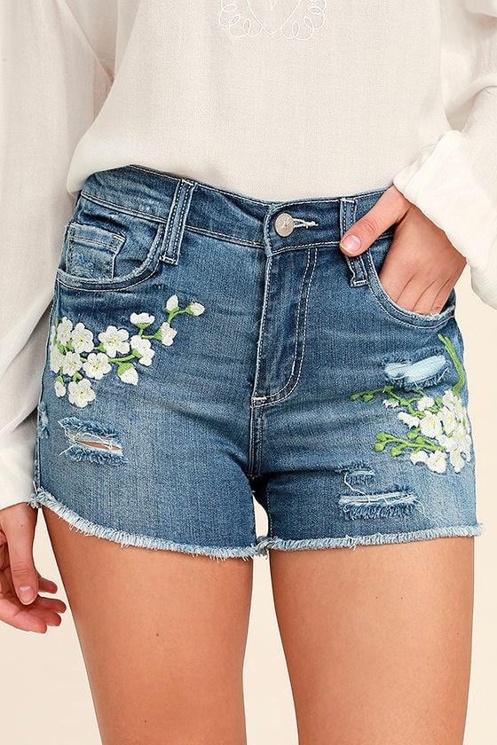 Through the Meadow Medium Wash Embroidered Denim Shorts 1