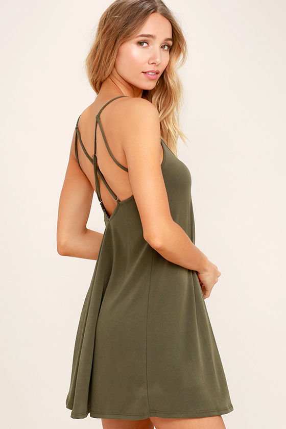Hello Beautiful Olive Green Swing Dress 1