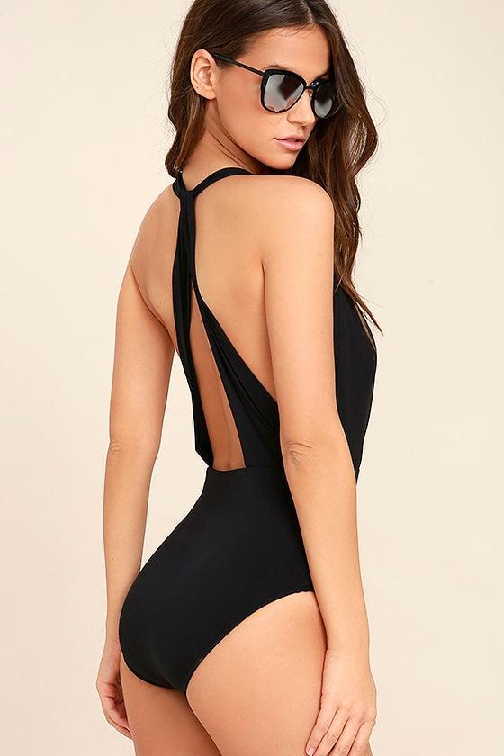 Get it Right Black Halter One Piece Swimsuit 3