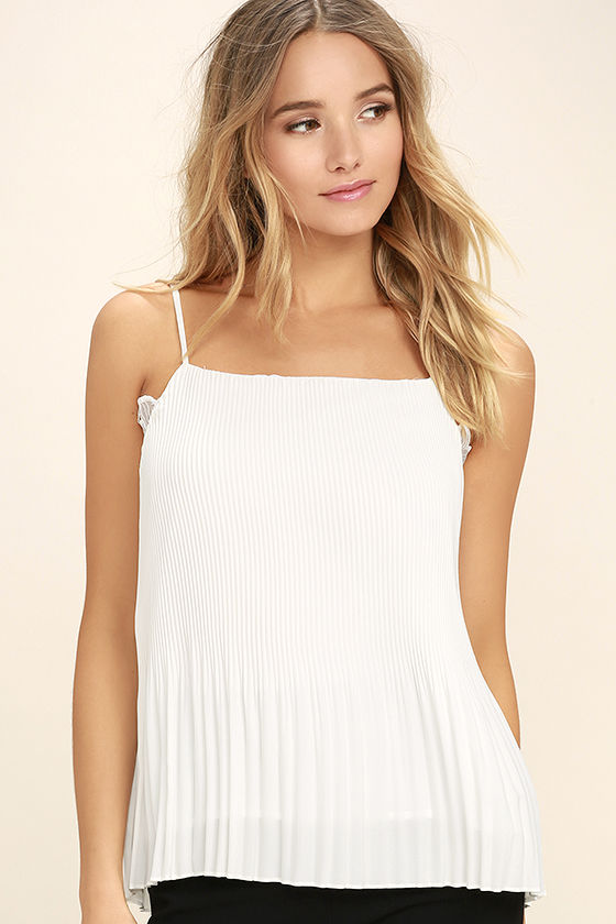 None Other White Lace Sleeveless Top 3
