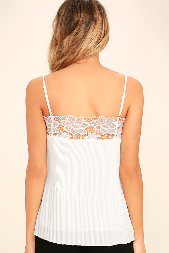 None Other White Lace Sleeveless Top 4