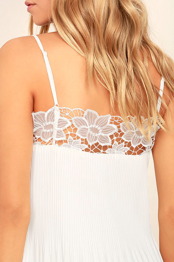 None Other White Lace Sleeveless Top 5