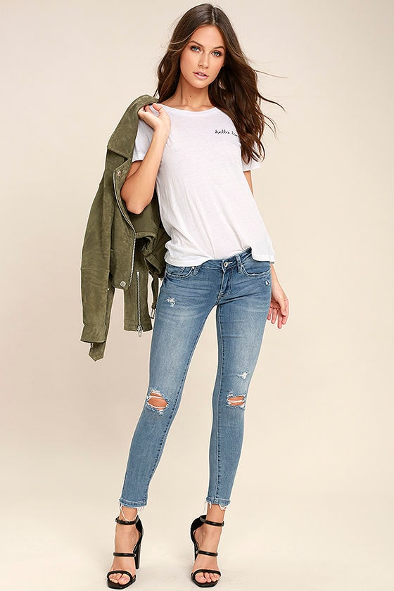 Unstoppable Style Light Wash Distressed Skinny Jeans 1