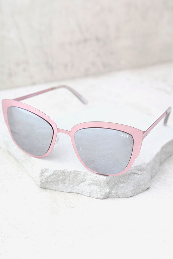 Quay Super Girl Silver and Pink Mirrored Cat-Eye Sunglasses 2