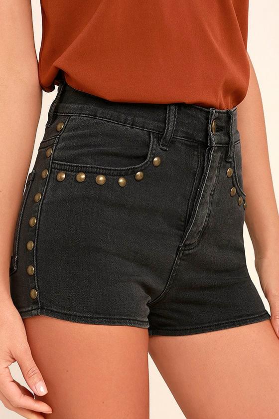 Amuse Society Rhea Washed Black High-Waisted Denim Shorts 1