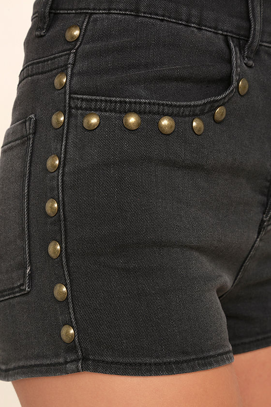 Amuse Society Rhea Washed Black High-Waisted Denim Shorts 6