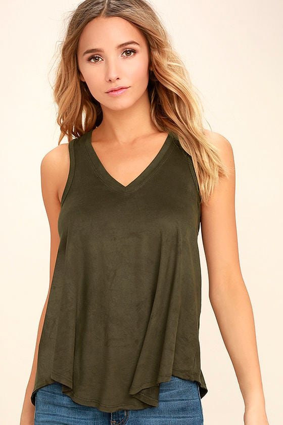 My Song Olive Green Suede Sleeveless Top 1