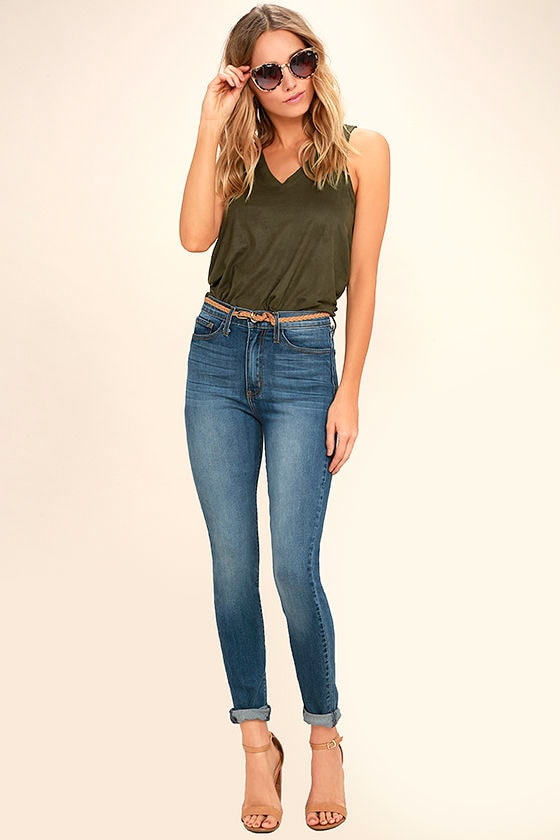 My Song Olive Green Suede Sleeveless Top 2