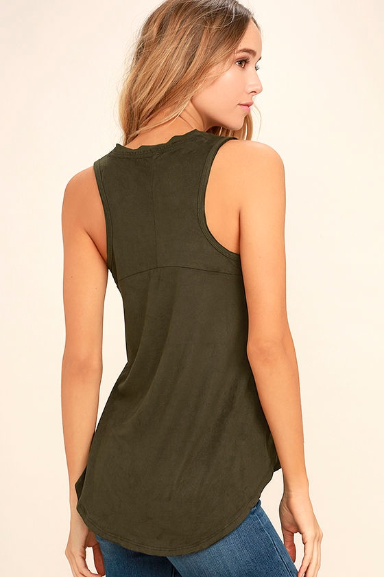 My Song Olive Green Suede Sleeveless Top 3