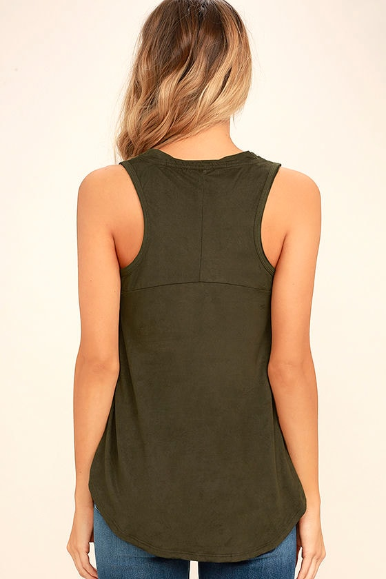 My Song Olive Green Suede Sleeveless Top 4