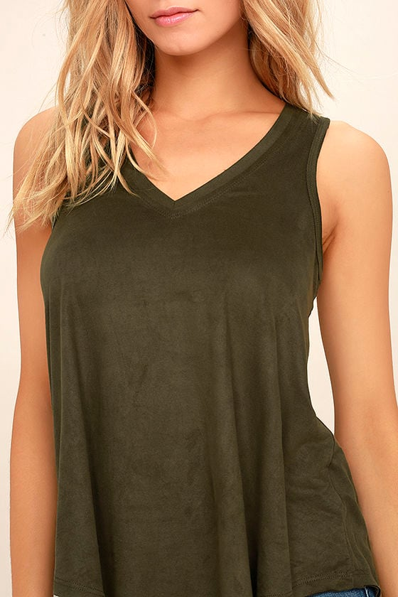 My Song Olive Green Suede Sleeveless Top 5