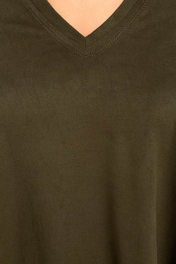 My Song Olive Green Suede Sleeveless Top 6