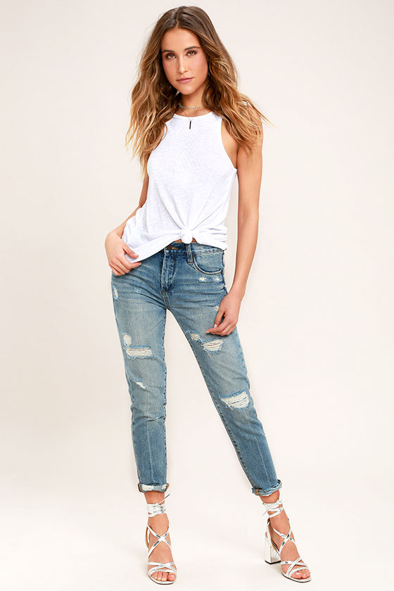 Blank NYC Pin-Up High Rise Medium Wash Distressed Skinny Jeans 1