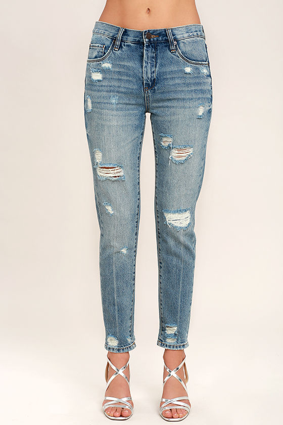 Blank NYC Pin-Up High Rise Medium Wash Distressed Skinny Jeans 2
