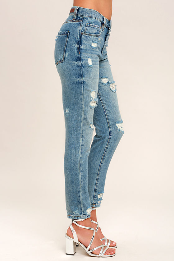 Blank NYC Pin-Up High Rise Medium Wash Distressed Skinny Jeans 3
