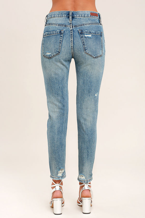 Blank NYC Pin-Up High Rise Medium Wash Distressed Skinny Jeans 4