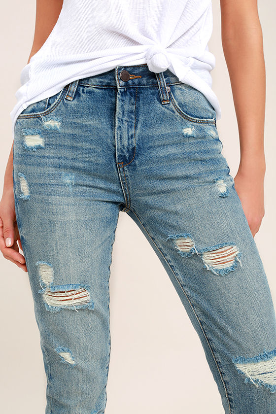 Blank NYC Pin-Up High Rise Medium Wash Distressed Skinny Jeans 5