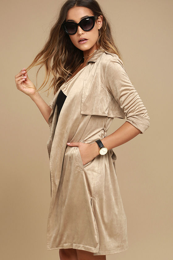 Take on the World Beige Suede Trench Coat 3