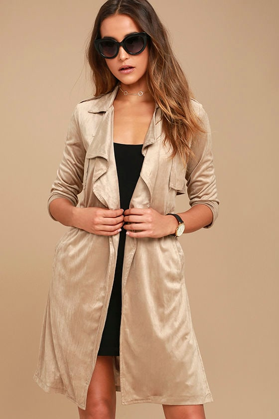 Take on the World Beige Suede Trench Coat 1
