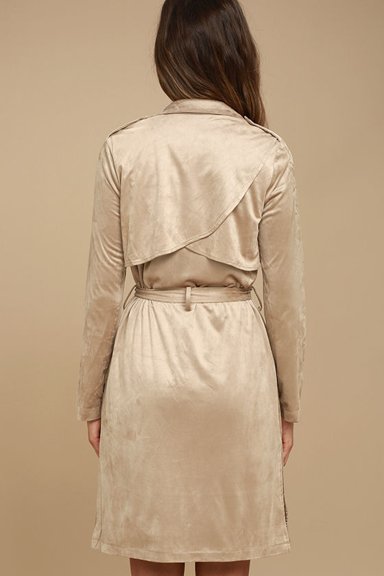 Take on the World Beige Suede Trench Coat 4