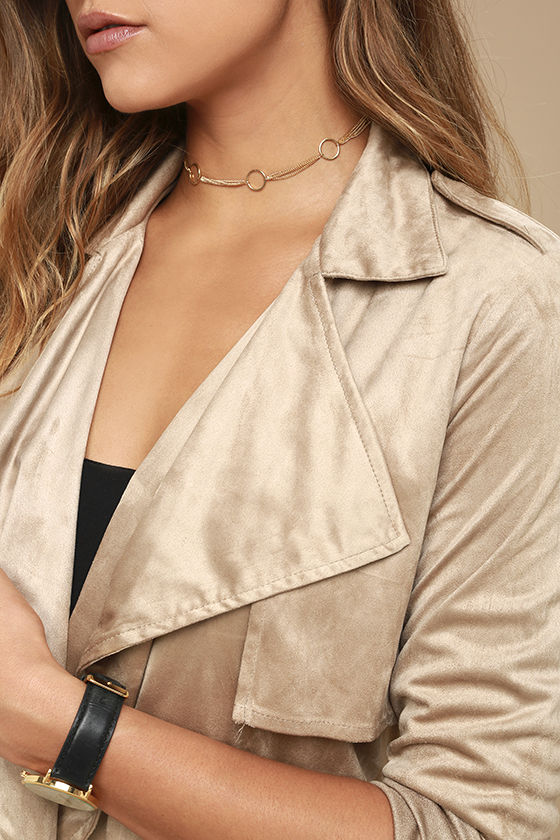 Take on the World Beige Suede Trench Coat 5
