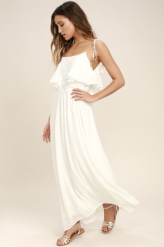 c86217cfdcde Moon River - Lovely Ivory Dress - Lace Dress - Maxi Dress -  95.00