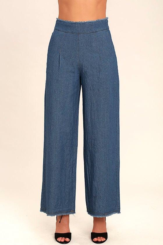 My Moment Blue Chambray Wide-Leg Pants 2