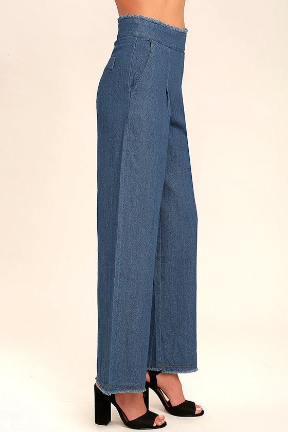My Moment Blue Chambray Wide-Leg Pants 3