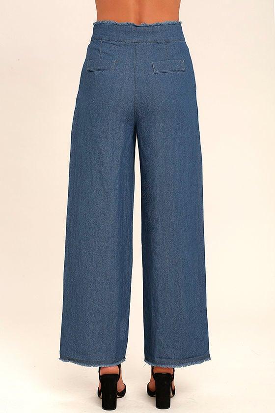 My Moment Blue Chambray Wide-Leg Pants 4