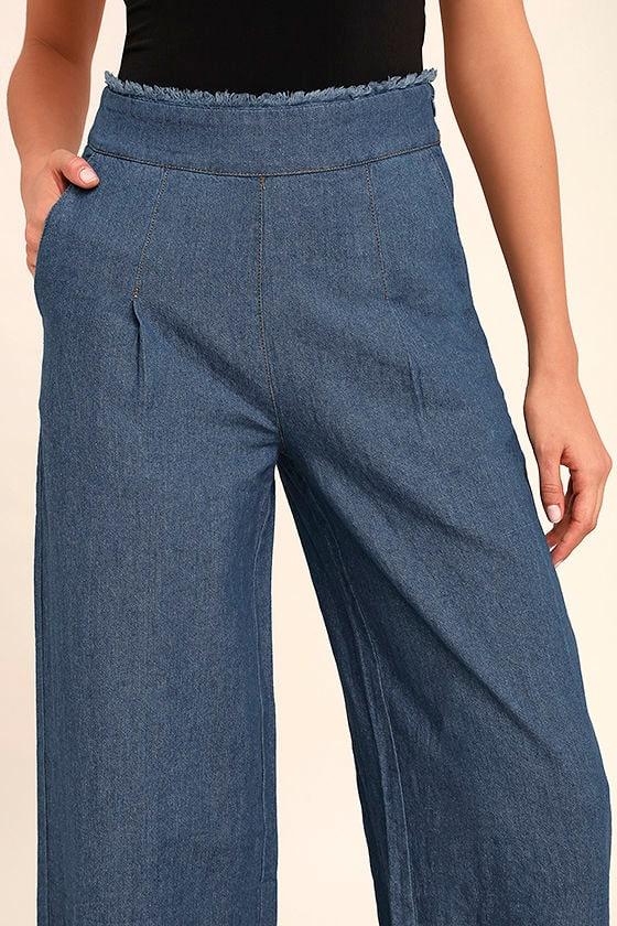 My Moment Blue Chambray Wide-Leg Pants 5