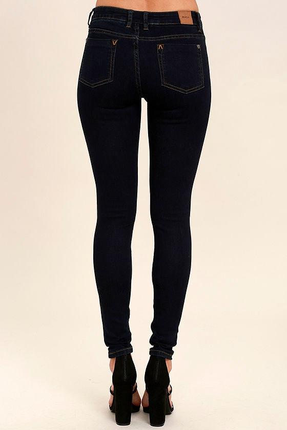 RVCA Dayley III - Dark Wash Skinny Jeans - Low-Rise Skinny Jeans ...