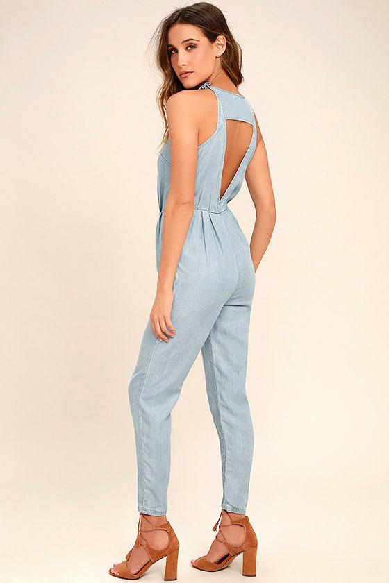 57688680a30b RVCA Livonia - Blue Chambray Jumpsuit - Sleeveless Jumpsuit -  79.00