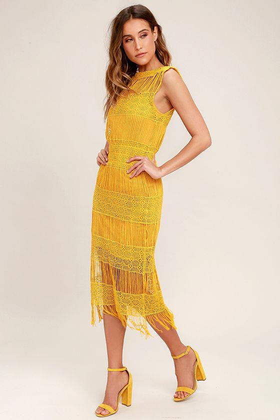 5517e48b5691 Fun Mustard Yellow Dress - Crocheted Lace Dress - Midi Dress -  83.00