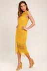 Fun Mustard Yellow Dress - Crocheted Lace Dress - Midi Dress -  83.00 3bc2811e511e